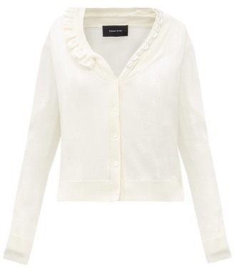 Simone Rocha Faux Pearl And Crystal Wool-blend Cardigan - Cream