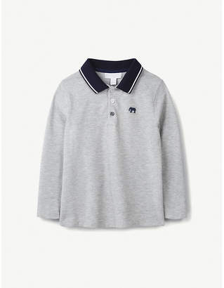 The Little White Company Elephant-embroidered cotton-pique polo shirt 1-6 years