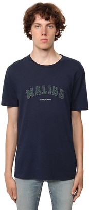 Saint Laurent Logo Malibu Print Cotton Jersey T-Shirt