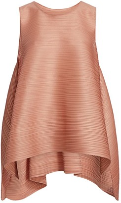 Pleats Please Issey Miyake Squared Sleeveless Drawstring Top
