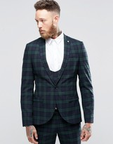 Noose & Monkey Super Skinny Suit Jacket In Tartan With Stretch