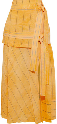 3.1 Phillip Lim Tie-front Striped Woven Maxi Skirt