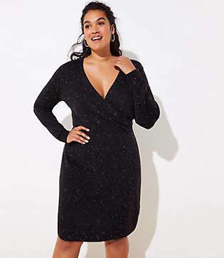 LOFT Plus Flecked Wrap Sweater Dress