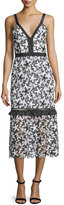 Self-Portrait Self Portrait Sleeveless Floral Lace Midi Dress, Black/White