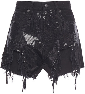 R 13 Distressed Sequin-embellished Denim Shorts