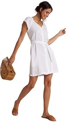 Bella Dahl Elastic Neck Raglan Dress (White) Women's Dress