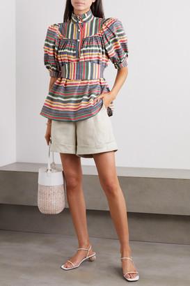 ANNA MASON Kasia Belted Ruffled Striped Cotton Blouse - Blue