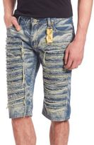 Robin's Jeans Distressed Long Flap Denim Shorts