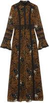 Anna Sui Garden of Eden lace-paneled printed chiffon maxi dress