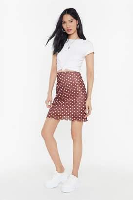 Nasty Gal Womens Polka Dot Lettuce Hem Mesh Mini Skirt - Pink - 8, Pink