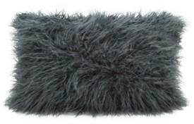 """Saro Lifestyle Mongolian Faux Fur Throw Pillow, 12"""" x 20"""""""
