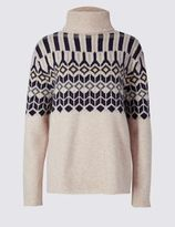 Marks and Spencer Pure Wool Fair Isle Roll Neck Jumper
