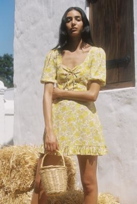 Faithfull The Brand Agathe Printed Mini Dress - Yellow S at Urban Outfitters