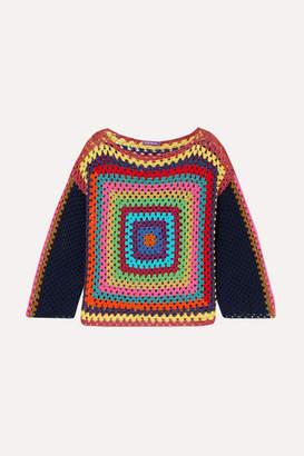 Rose Carmine - Carre Metallic Crochet-knit Cotton Sweater - Navy
