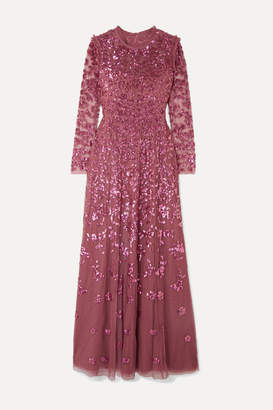 Needle & Thread Rosmund Sequined Tulle Gown - Magenta