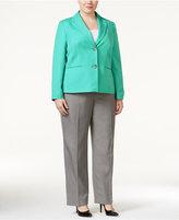 Le Suit Plus Size Contrast Two-Button Pantsuit