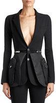 Givenchy Crepe & Satin Utility Blazer, Black