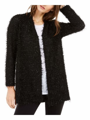 Alfani Womens Black Long Sleeve Open Cardigan Evening Sweater UK Size: L