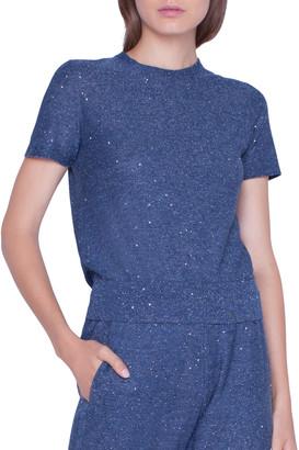 Akris Shimmer Sequined Short-Sleeve Sweater