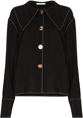REJINA PYO Contrast Stitching Asymmetric Button Shirt