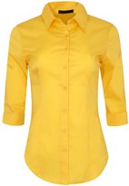 Iron Puppy Womens 3/4 Sleeve Skinny Button Down Colla Shirts With Stretch Mideum
