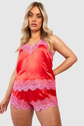 boohoo Plus Eyelash Trim Contrast Cami & Shorts