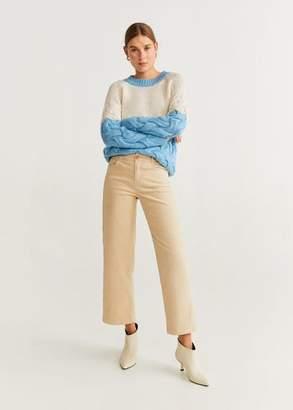 MANGO Contrasting knit sweater yellow - XXS - Women