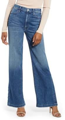 Mother The Hustler Sidewinder High Waist Split Wide Leg Jeans