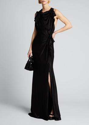 Burberry Shiny Jersey High-Neck Column Dress w/ Front Slit