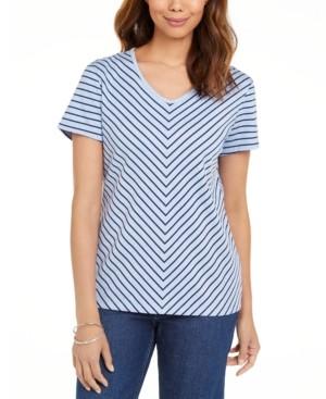 Karen Scott Mitered-Stripe Top, Created for Macy's