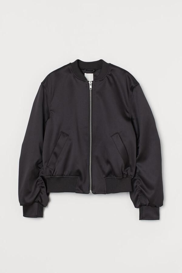 H&M Satin Bomber Jacket - Black