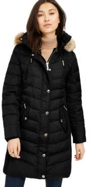 Michael Kors Michael Faux-Fur-Trim Hooded Chevron Down Puffer Coat, Created For Macy's