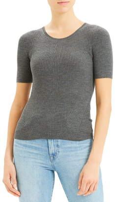 Theory Regal Moving Ribbed Short Sleeve Wool Sweater