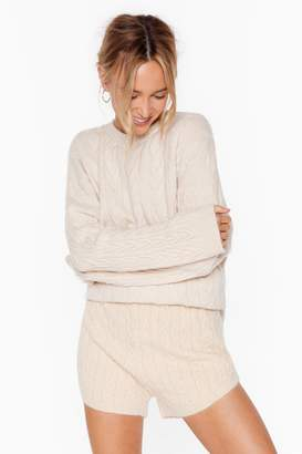 Nasty Gal Womens Fluffy soft cable knit v neck Jumper & short set - white - L
