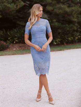 Forever New Raelyn Short Sleeve Lace Dress - Nottinghill Blue - 8