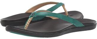 OluKai Ho'opio Leather (Sliver/Charcoal) Women's Sandals