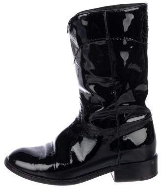 Chanel CC Patent Leather Boots
