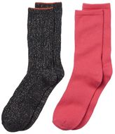 Cuddl Duds Girls 4-16 2-pk. Lurex Cable Knit Crew Socks