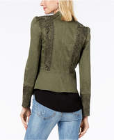 INC International Concepts Puffed-Shoulder Lace-Contrast Jacket, Created for Macy's
