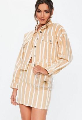 Missguided Blush Stripe Cropped Oversized Co Ord Denim Skirt