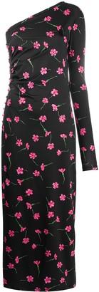 MARCIA Floral-Print Asymmetric Maxi Dress