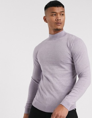 Asos DESIGN cotton turtle neck jumper in lilac