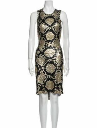 Naeem Khan Silk Knee-Length Dress Metallic