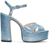 Marc Jacobs Blue Glitter Lust Platform Sandals