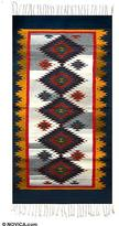 Zapotec Wool Area Rug (2.5x5), 'Blue Starlight'