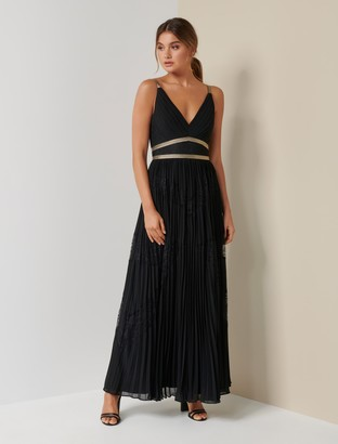 Forever New Kayla Spliced Lace Pleated Maxi Dress - Black - 10