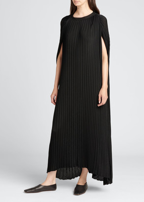 The Row Bastet Pleated Cape A-line Maxi Dress