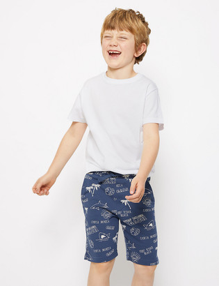Marks and Spencer Cotton Beach Print Shorts (6-16 Yrs)
