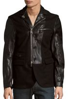 DSQUARED2 Leather & Wool Zip-Front Jacket