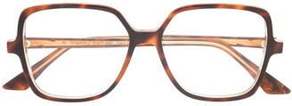 Emmanuelle Khanh Sqaure Frame Tortoiseshell Glasses